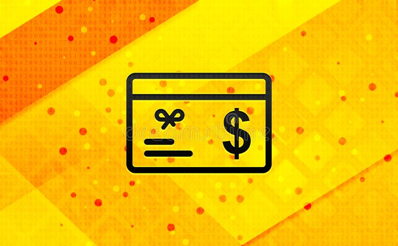 Gift card dollar sign icon abstract digital banner yellow background stock illustration