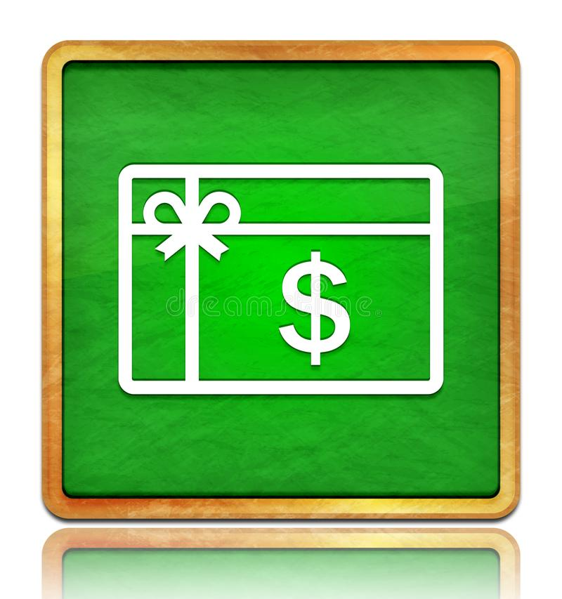 Gift card dollar sign icon chalk board green square button slate texture wooden frame concept isolated on white background with. Shadow reflection chalkboard stock illustration