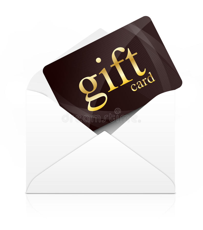 Gift card in envelope stock photography