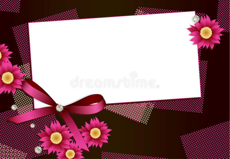 Gift card with flowers,diamonds and ribbon. Gift card with flowers, diamonds and ribbon and copy space for your text royalty free illustration