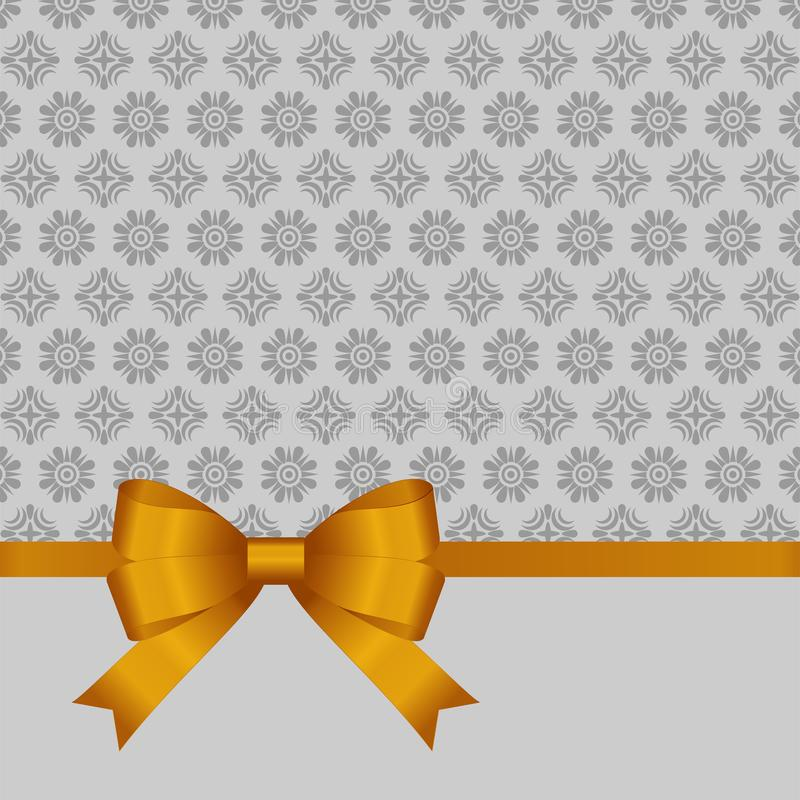 Gift Card With Gold Ribbon And A Bow On Grey Background. Gift ...