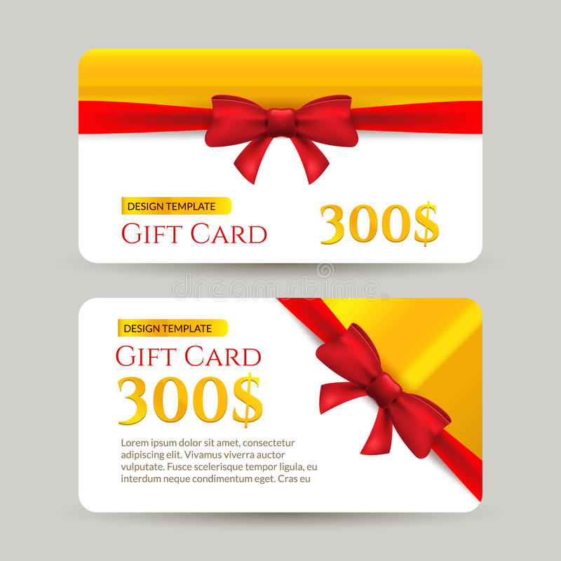 Gift Card With Golden Element And Bow. Gift Card Template Design ...