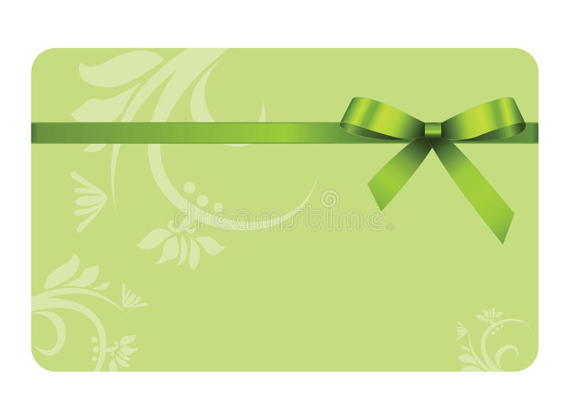 Gift Card With Green Ribbon And A Bow Stock Vector Illustration Of