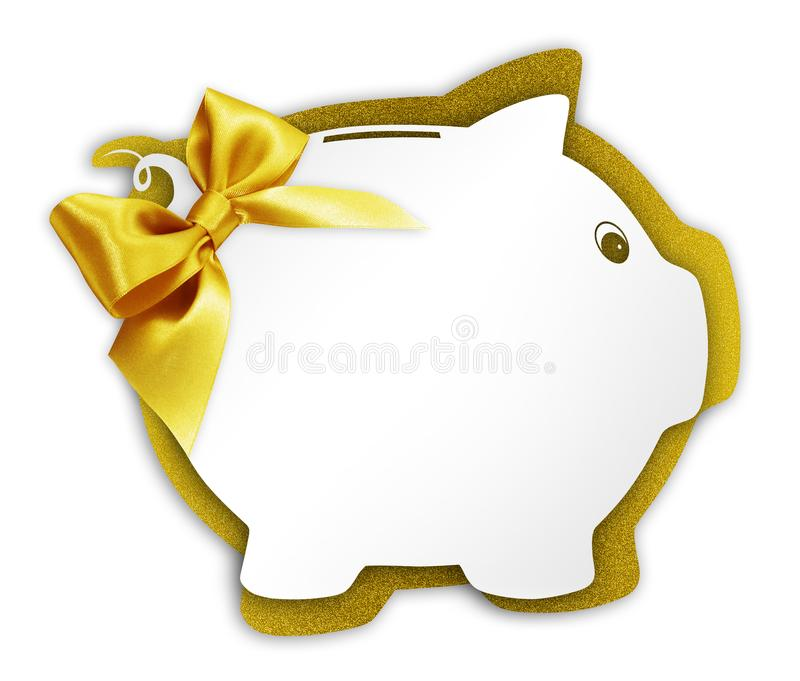 Gift card label in the shape of a piggy bank with golden ribbon. Glitter bow isolated on white background royalty free stock image