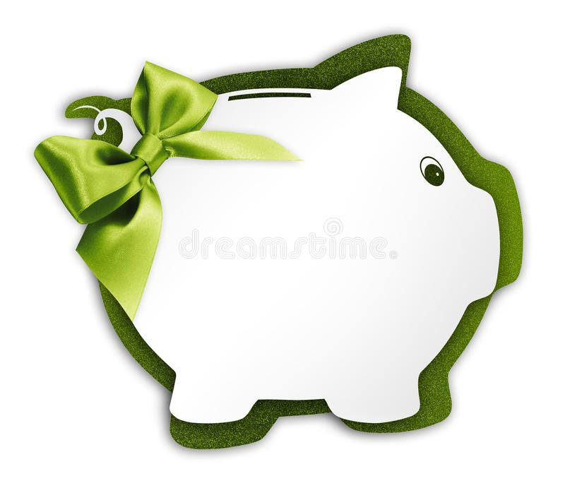 Gift card label in the shape of a piggy bank with green ribbon g. Litter bow isolated on white background stock image