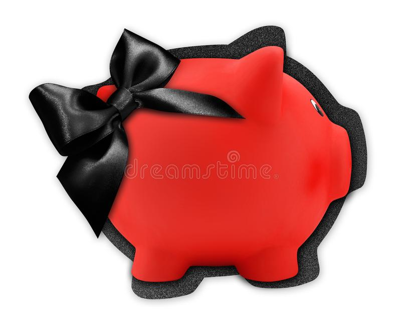 Gift card label in the shape of a red piggy bank with black glitter ribbon bow isolated on white background royalty free stock photos