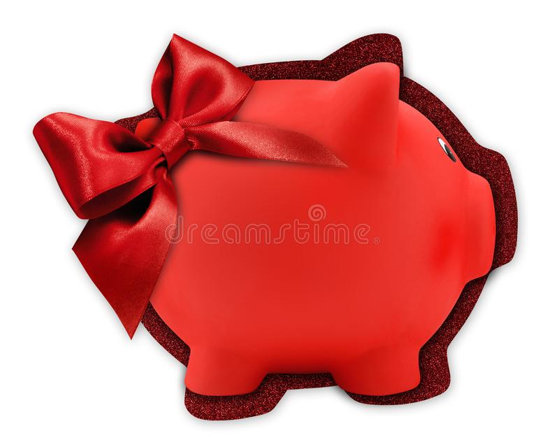 Gift card label in the shape of a red piggy bank with red glitter ribbon bow isolated on white background royalty free stock photos
