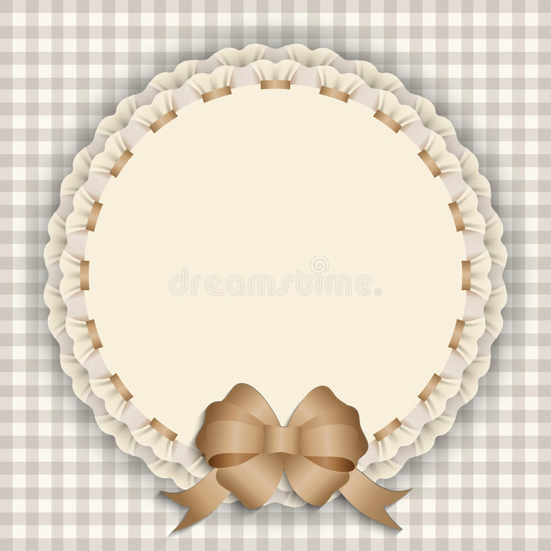 Gift card with lace, ribbon, silk ribbon, place for text. stock illustration