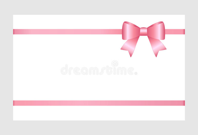 gift card with pink ribbon and a bow isolated on white