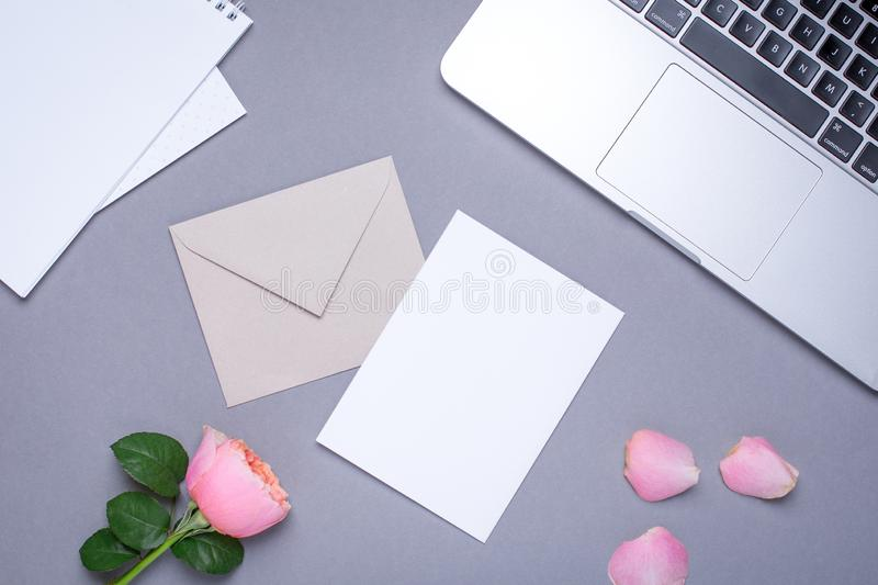Gift card with pink rose and laptop on gray background royalty free stock photography