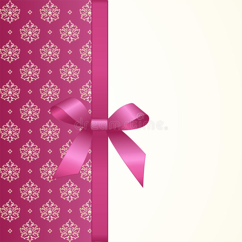 Gift Card with Pink Satin Gift Bow, has space for text on background. stock illustration