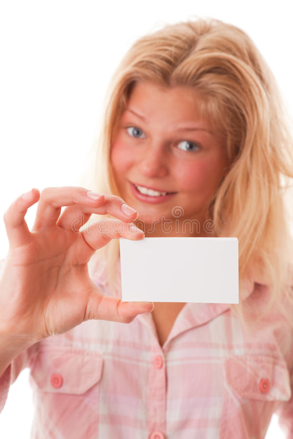 Gift Card. Portrait teenager girl on a white background stock images