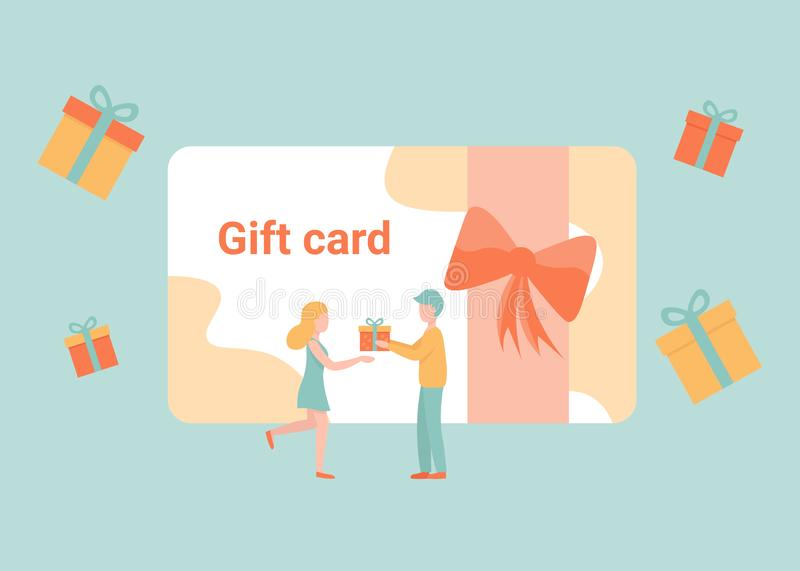 Gift card present, discount coupon, tiny people give a gift. Gift card and promotion, discount coupon and gift certificate concept. Man and woman characters vector illustration