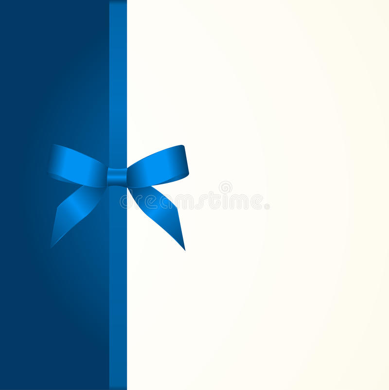 Gift Card with Shiny Blue Satin Gift Bow Close up. Has space for text on background. Gift Voucher Template. Vector image vector illustration