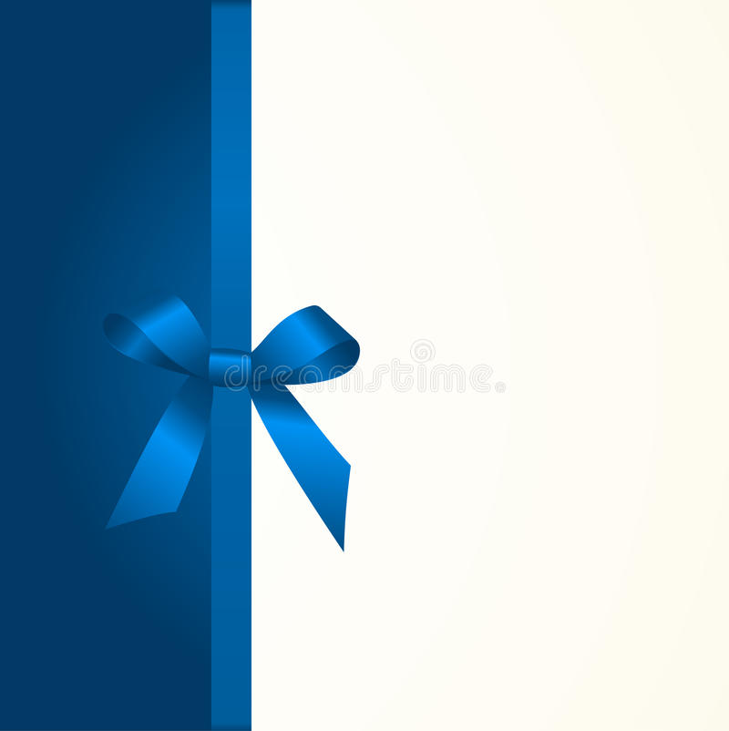 Gift Card with Shiny Blue Satin Gift Bow Close up. Has space for text on background. Gift Voucher Template. Vector image royalty free illustration
