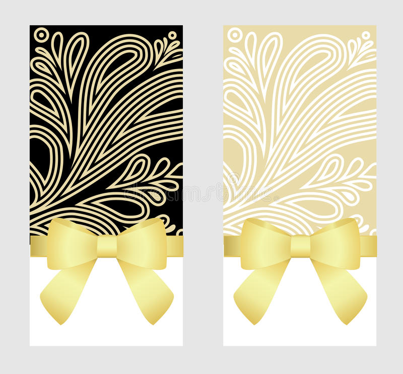 Gift Card with Shiny Golden Satin Gift Bow Close up, has space for text on background. Gift Voucher Template. Vector image. Gift Card with Shiny Golden Satin vector illustration