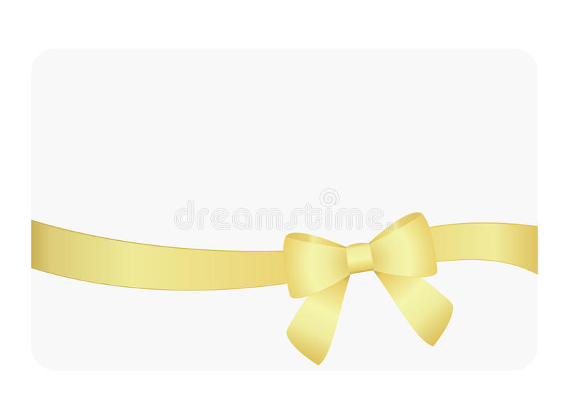 Gift Card with Shiny Golden Satin Gift Bow Close up, has space for text on background. Gift Voucher Template. Vector image. Gift Card with Shiny Golden Satin royalty free illustration