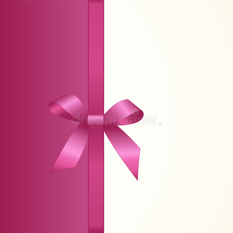 Gift Card with Shiny Pink Satin Gift Bow Close up. Has space for text on background. Gift Voucher Template. Vector image vector illustration