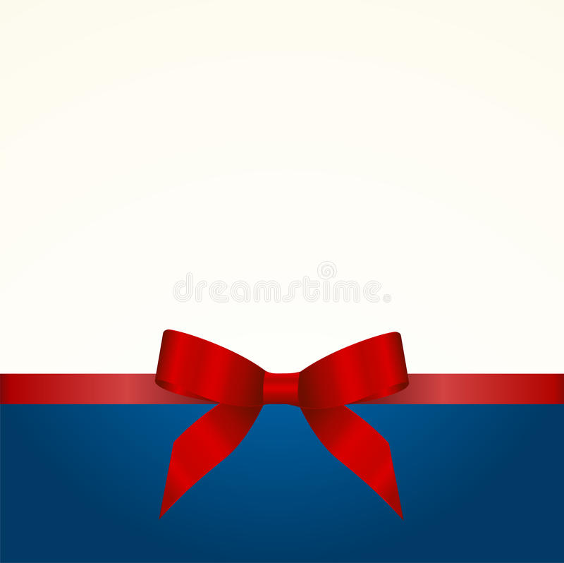 Gift Card with Shiny Red Satin Gift Bow Close up. Has space for text on background. Gift Voucher Template. Vector image vector illustration