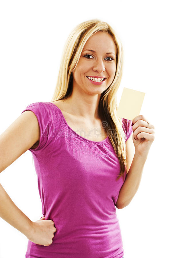 Gift Card Sign Beautiful Woman Royalty Free Stock Photo