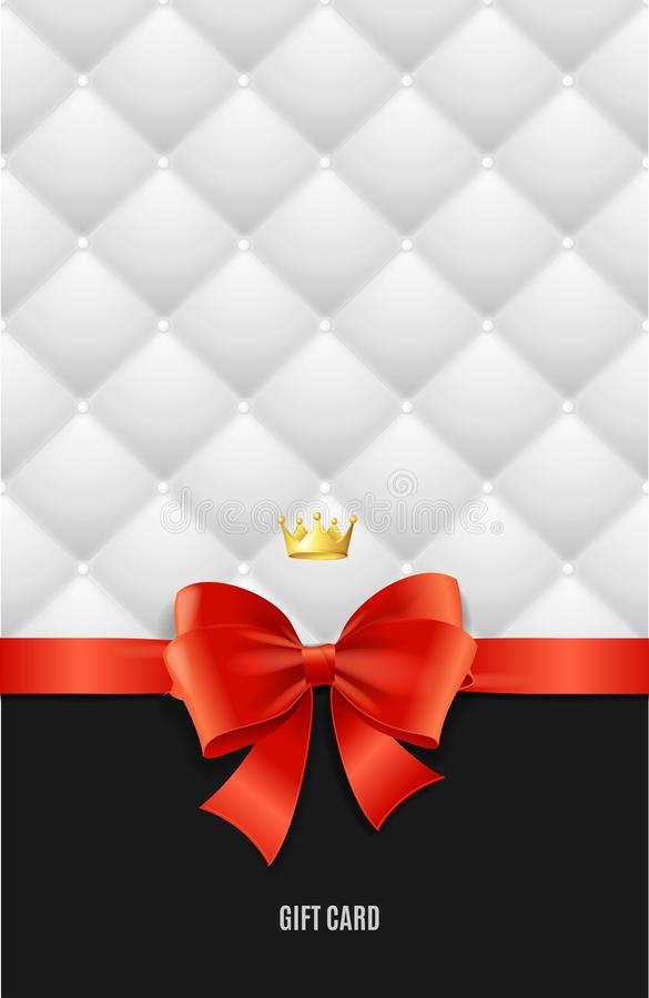 Gift Card Template, Silk Ribbon Bow And Quilted Background. Vector. Gift Card Template, Red Silk Ribbon Bow, Golden Crown Royal Accessory And White Quilted stock illustration