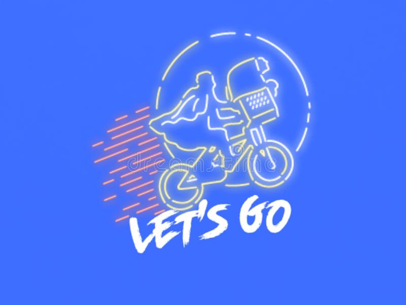 This is a gift card , vector. A greetings card/gift card of a cycle `let`s go`, vector. Blue color background. White text. off white color cycle vector illustration