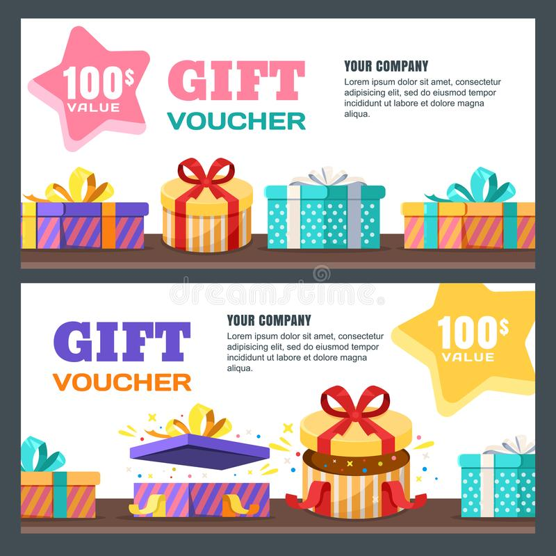 Gift card, voucher, certificate or coupon vector design layout. Discount banner template for surprise holidays greetings royalty free illustration