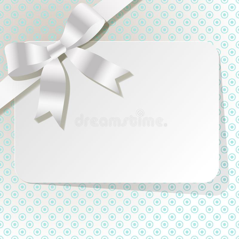 Gift card with white pearl ribbon on a turquoise polka dot background. Gift card with white pearl ribbon on a turquoise polka dot background vector illustration