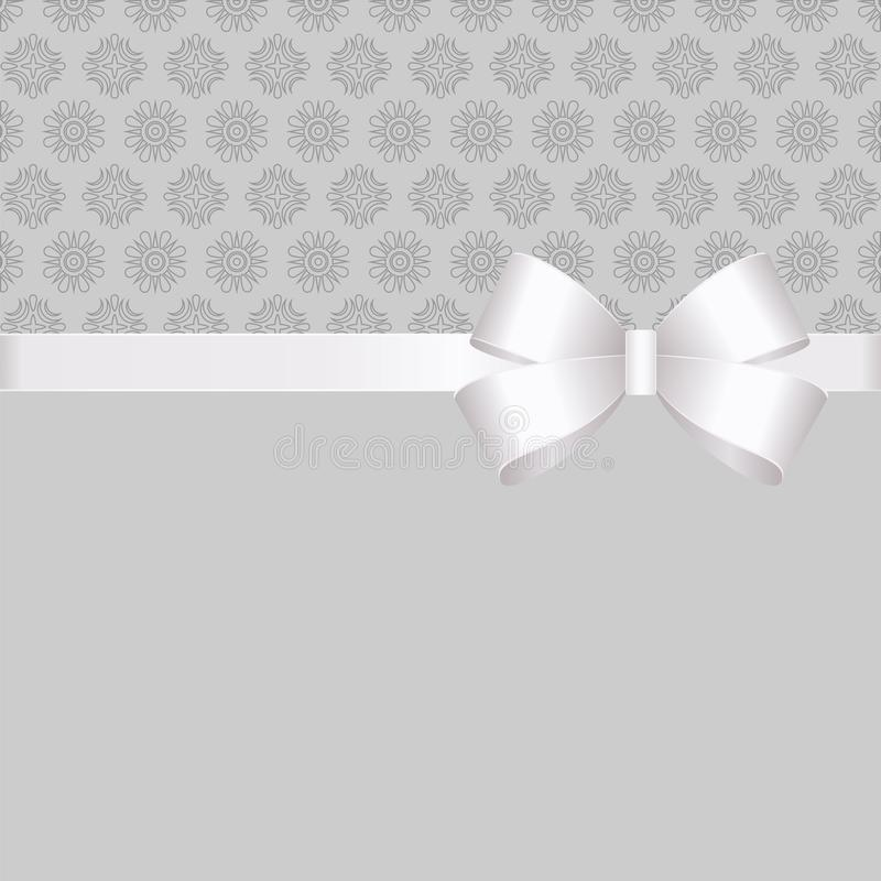 Gift Card With White Ribbon And A Bow on grey background. Gift Voucher Template with place for text. Invitation - vector image vector illustration