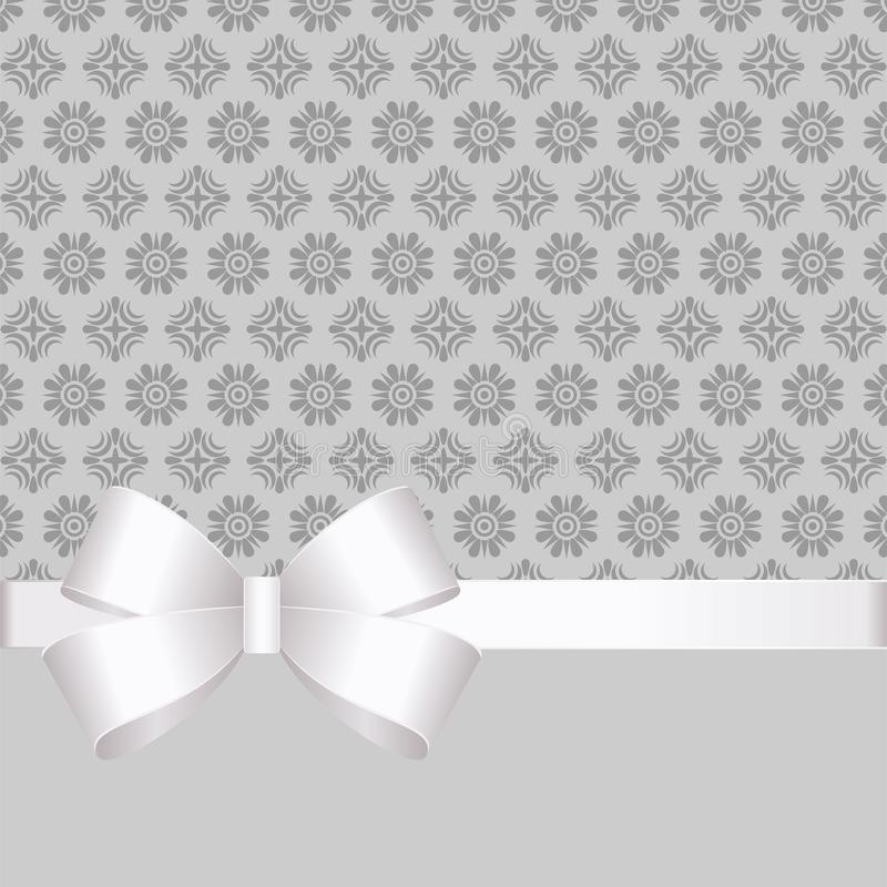 Gift Card With White Ribbon And A Bow on grey background. Gift Voucher Template with place for text. Invitation - vector image stock illustration