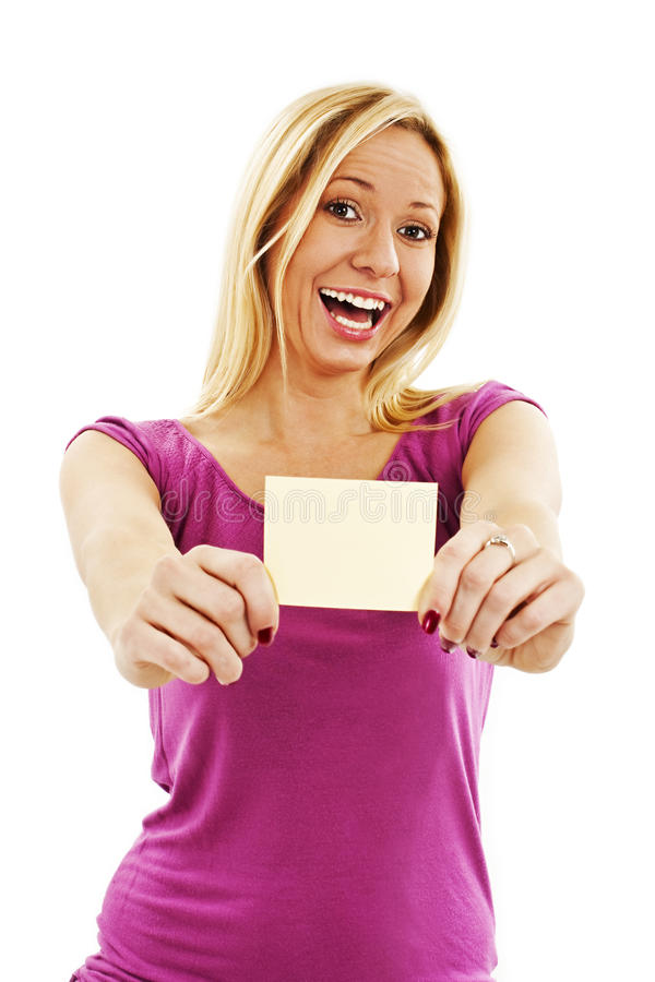 Gift Card Woman Excited Royalty Free Stock Images