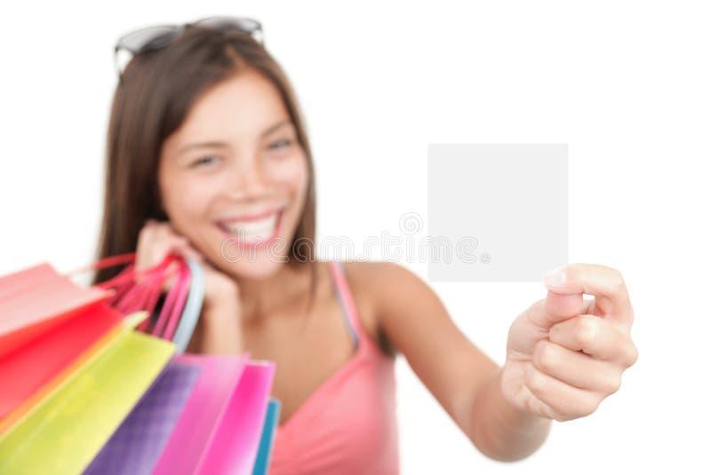 Gift card woman shopping stock photo