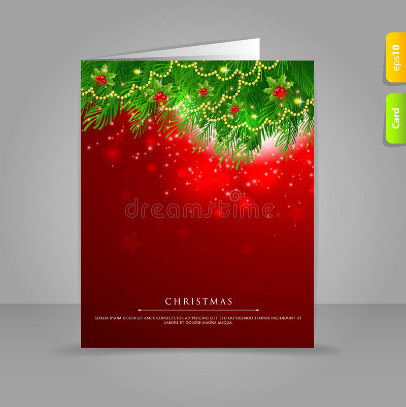 Gift Card With Xmas Branch Stock Images