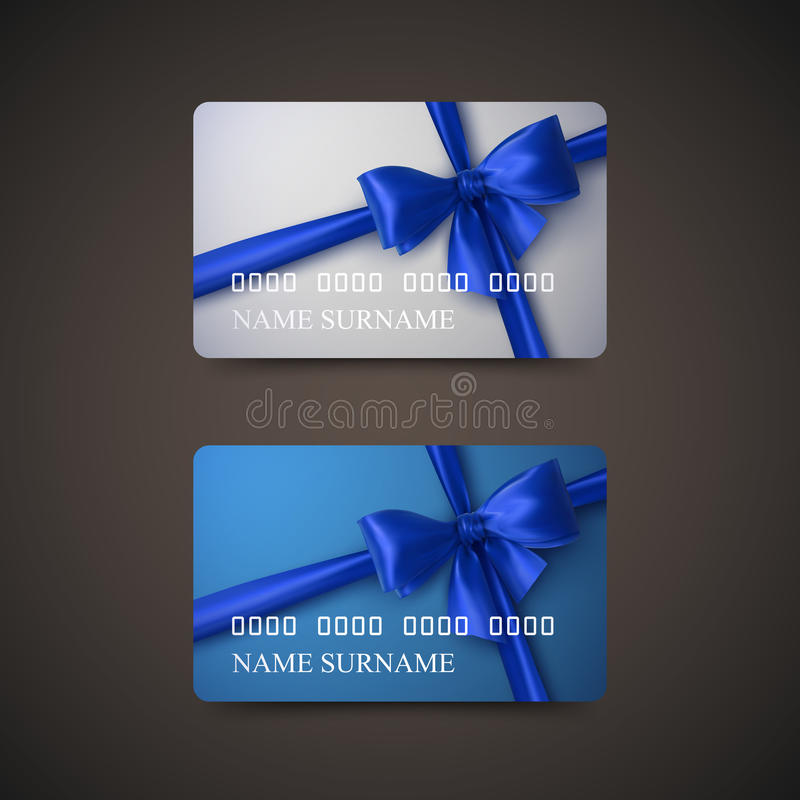 Gift Cards With Blue Bow And Ribbon. Vector Illustration. Gift Or Credit Card Design Template stock illustration