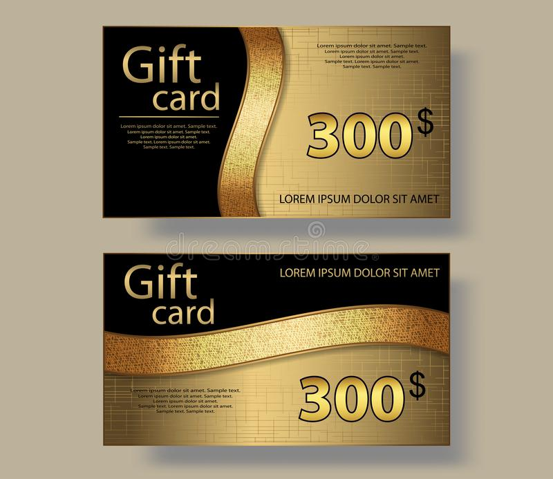 Gift Cards with gold ribbon, voucher, discount coupon template. Vector royalty free illustration