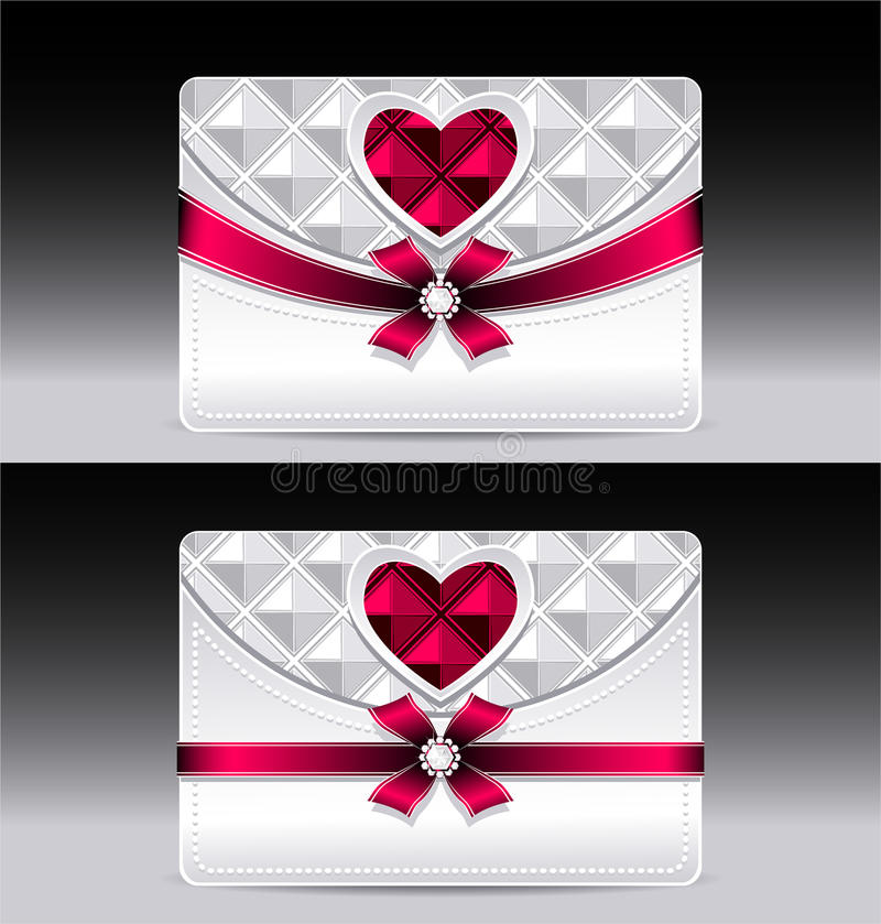 Gift cards with heart geometric pattern red bow ri. Bbon silver color royalty free illustration