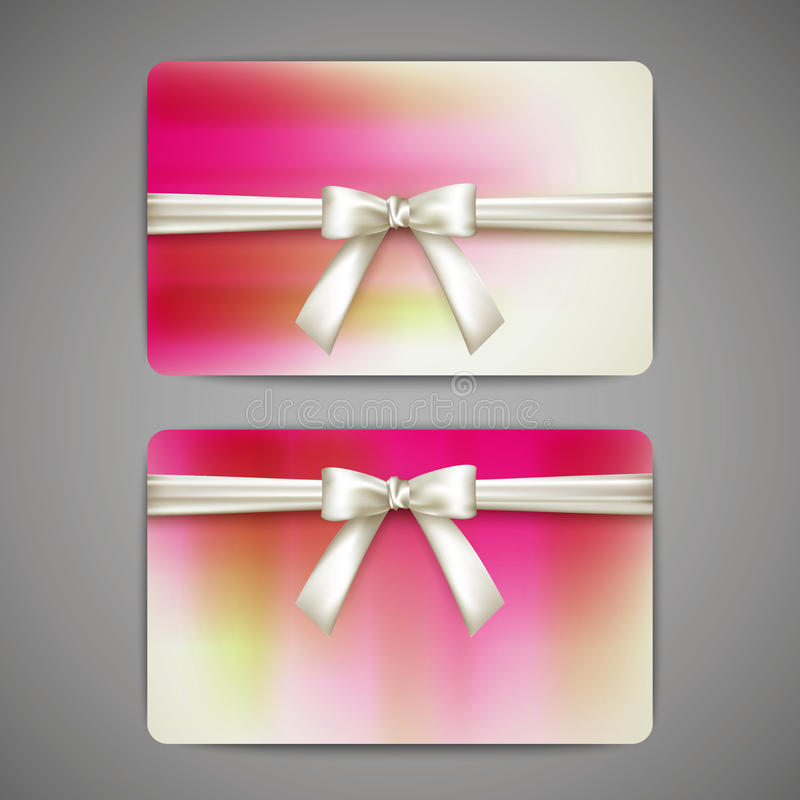 Gift cards with white bows and ribbons vector illustration
