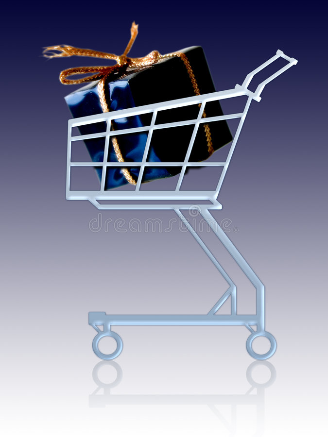 Gift in a cart stock illustration