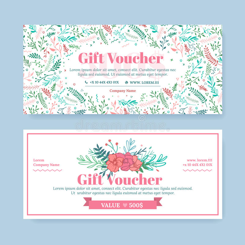 gift certificate with delicate painted flowers in boho