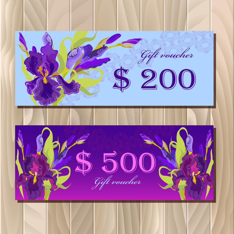 Gift certificate printable card template with purple iris flower download gift certificate printable card template with purple iris flower design stock vector image pronofoot35fo Image collections