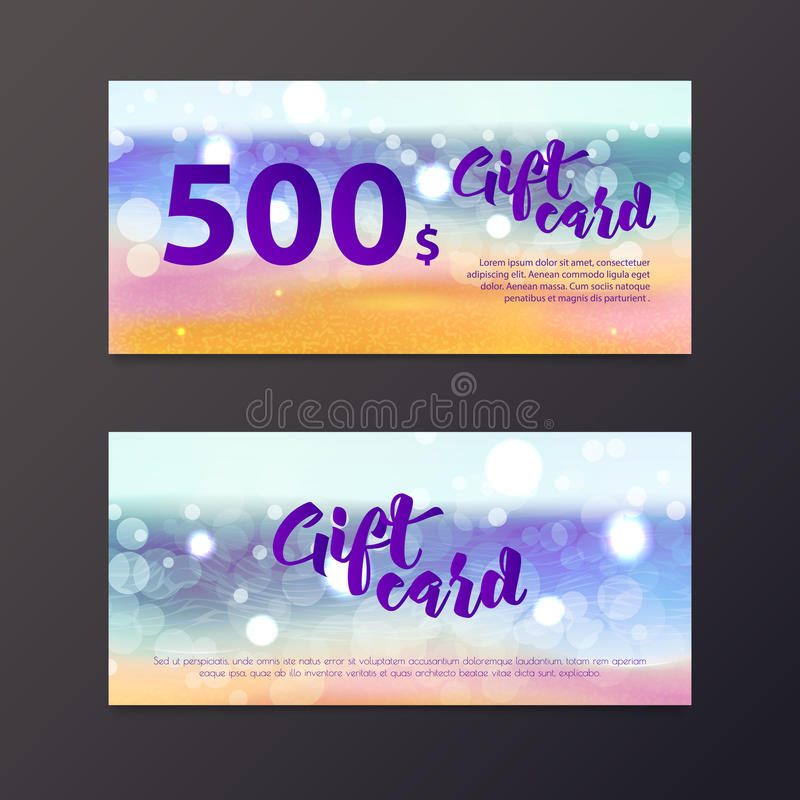 Background Of Blurred Beach And Sea Waves With Bokeh: Gift Certificate Travel Stock Illustrations
