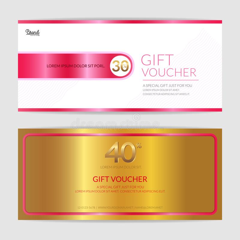 Download Gift Certificate, Voucher, Gift Card Or Cash Coupon Template In Stock Vector - Illustration of layout, gold: 107669752