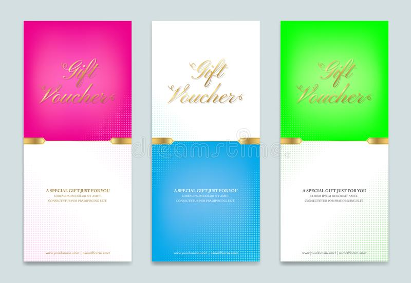 Gift certificate, voucher, gift card or cash coupon template. In vector format royalty free illustration
