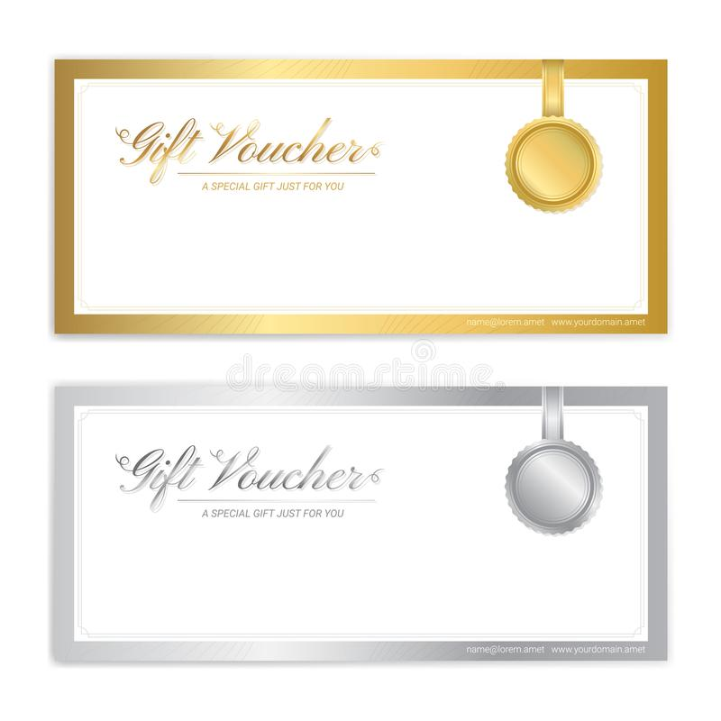 Gift certificate, voucher, gift card or cash coupon template. In vector format vector illustration
