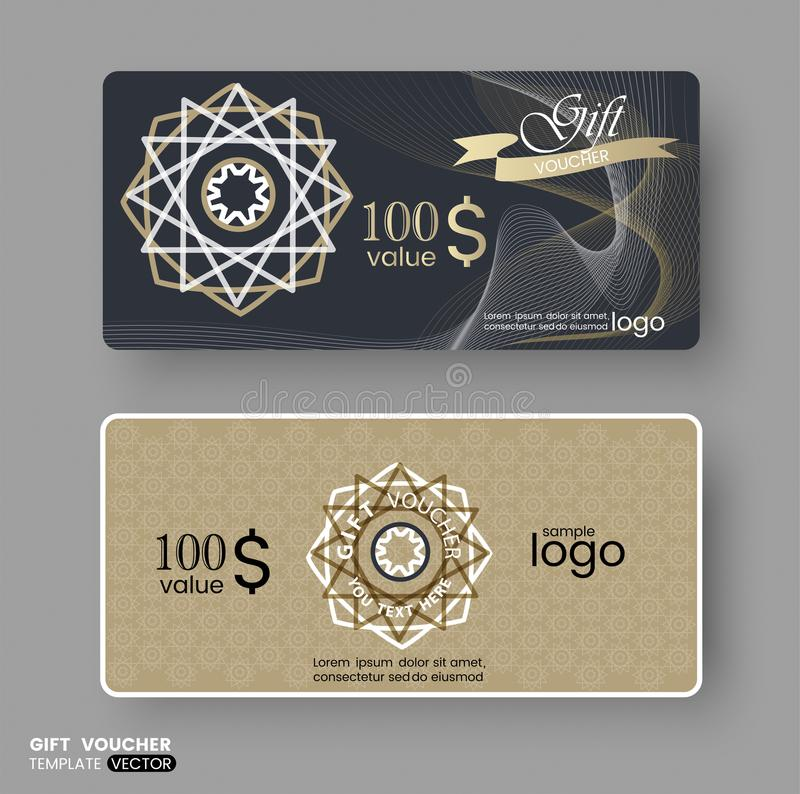 Gift Certificate Voucher Coupon, Business Cards Template With Gold ...
