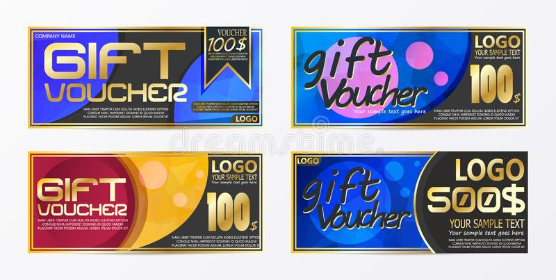 Gift certificate voucher coupon card background template. Eps.10 royalty free illustration