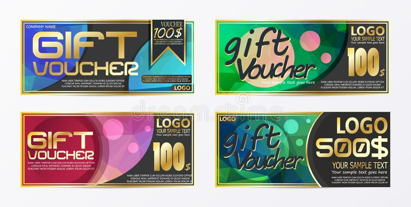 Gift certificate voucher coupon card background template. Eps.10 stock illustration