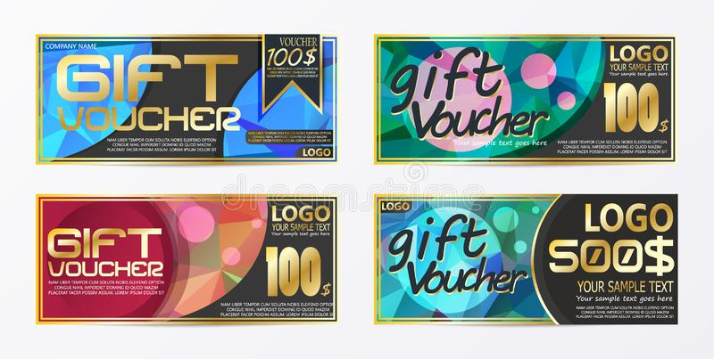 Gift certificate voucher coupon card background template. E royalty free illustration