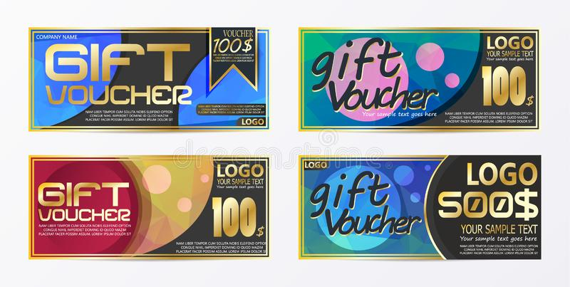 Gift certificate voucher coupon card background template. E vector illustration