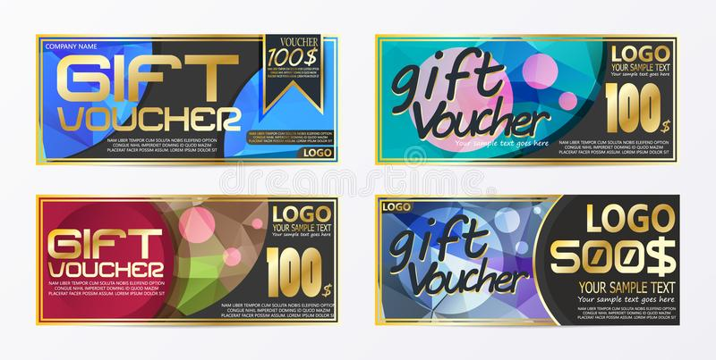 Gift certificate voucher coupon card background template. Eps stock illustration